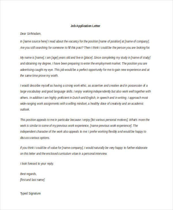 Application Letter Templates In Doc  Free  Premium Templates