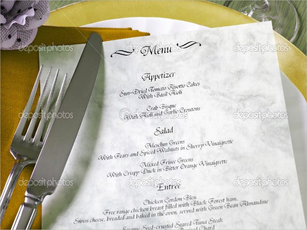 formal social event menu