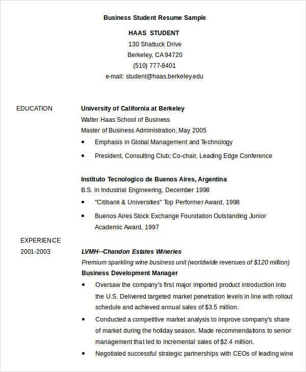 Business Student Resume Sample