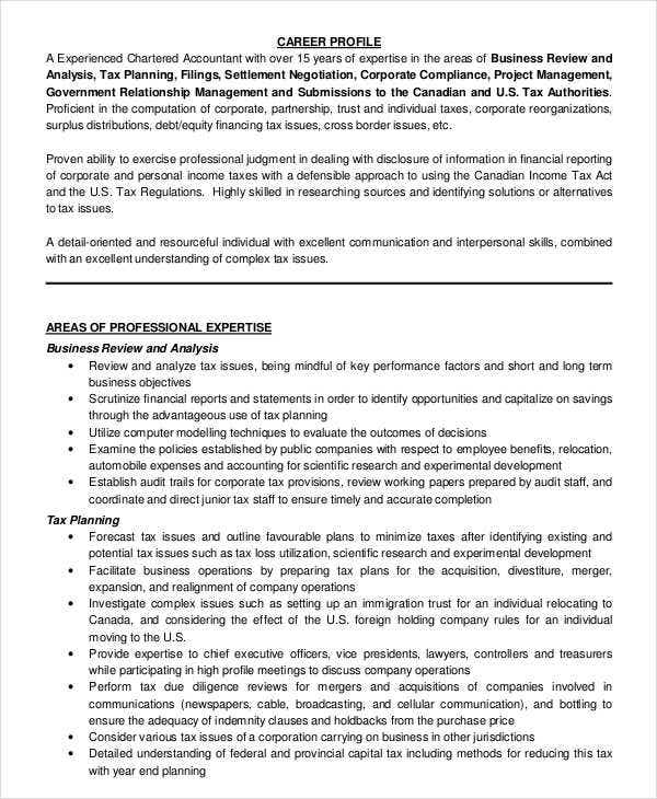 chartered accountant resume pdf