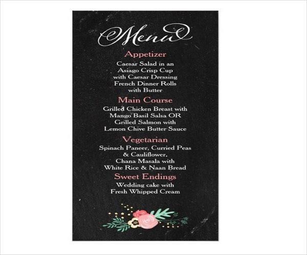 rustic wedding event menu