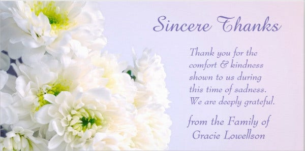 funeral floral thank you card