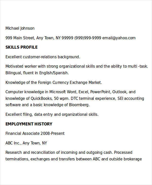 free finance resume templates 24 free word pdf documents