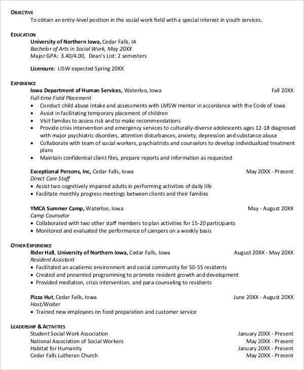 entry level social work resume5