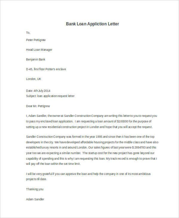 bank loan appliction letter