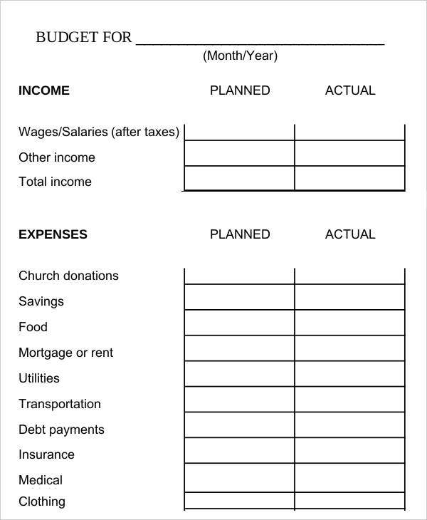 Bi-Weekly Family Budget Worksheet Template