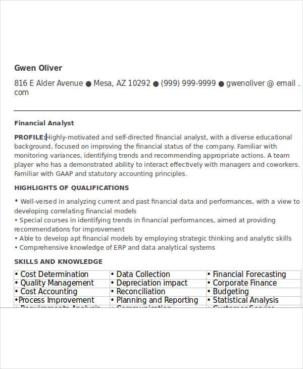 Entry Level Finance Analyst Resume  Entry Level Financial Analyst Resume