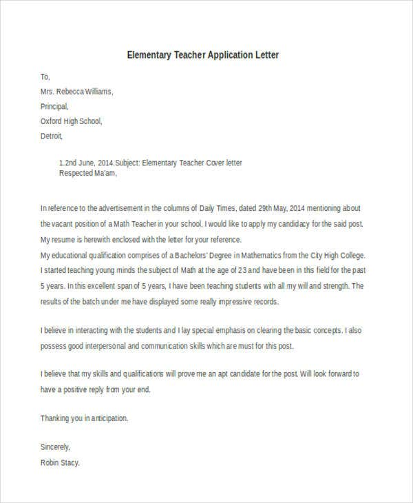 elementary teacher application letter2