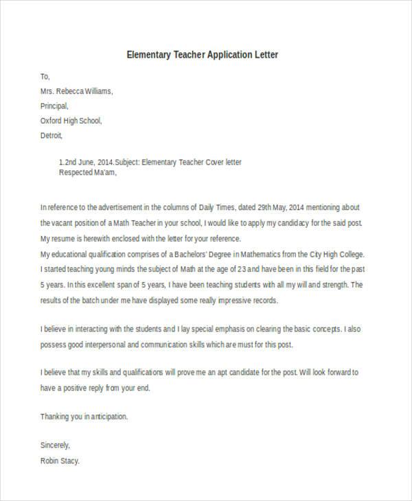 Elementary Teacher Application Letter2