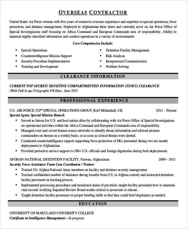 contract work resume example