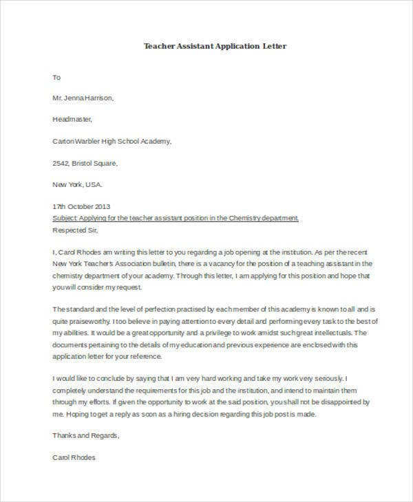 teacher assistant application letter3