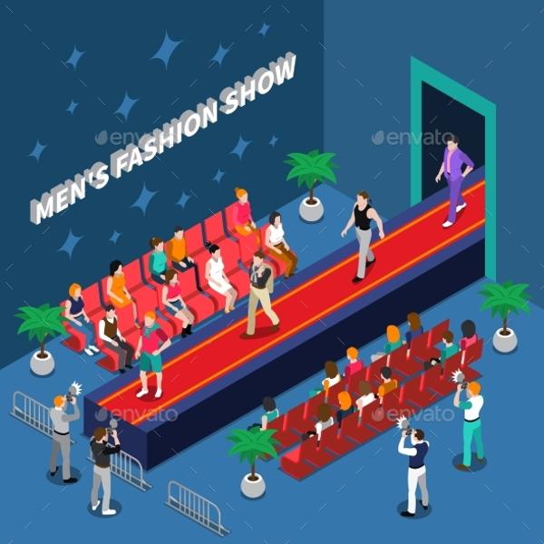 fashion-show-isometric-illustrations