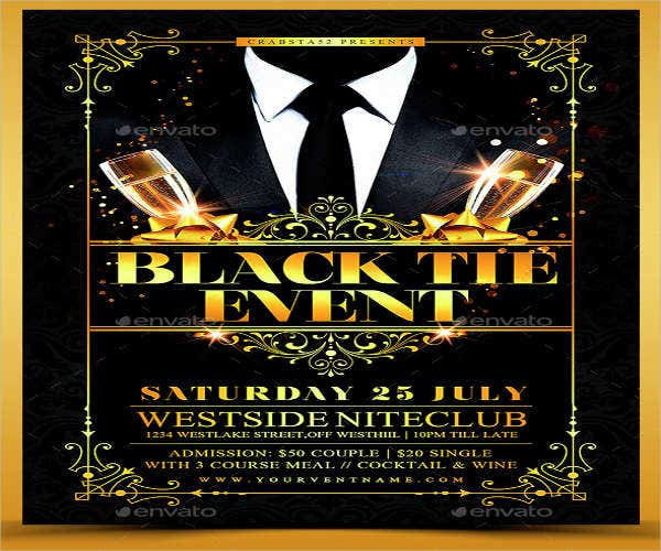 black tie work event menu