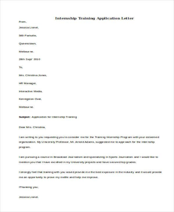 internship training application letter