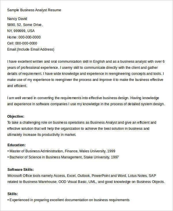business analyst resume sample2