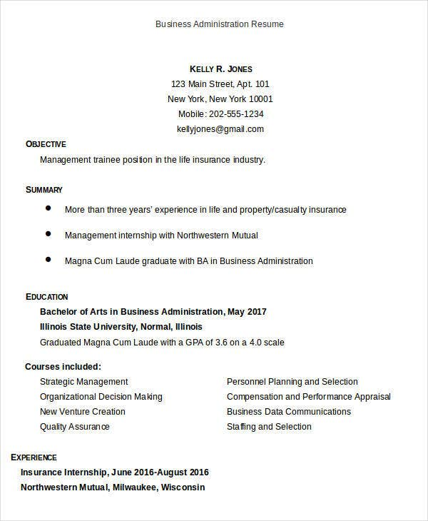 business administration resume example student sample free templates objective