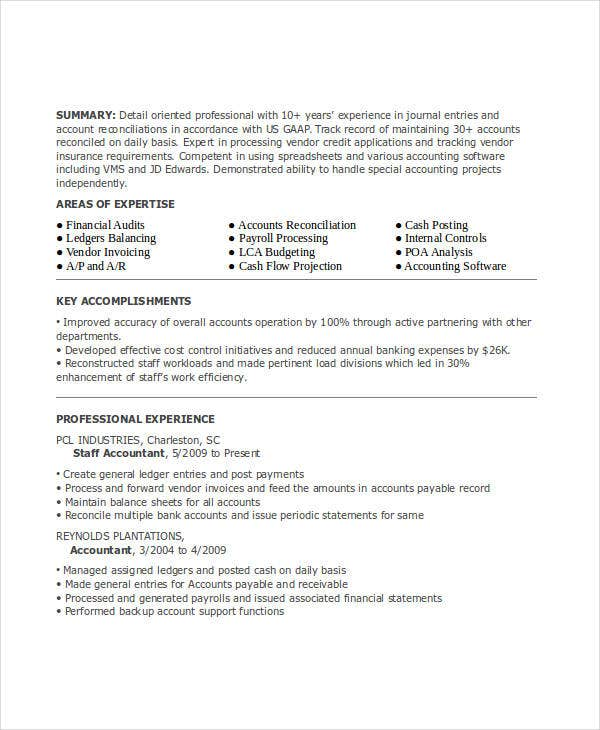 junior staff accountant resume
