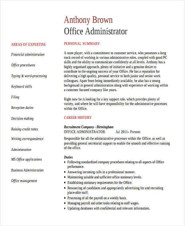 sample business administration resumes