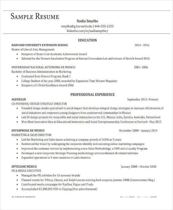 business administration resume sample