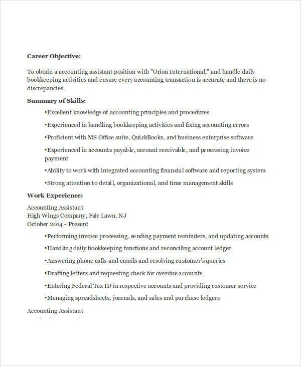 assistant accountant job resume