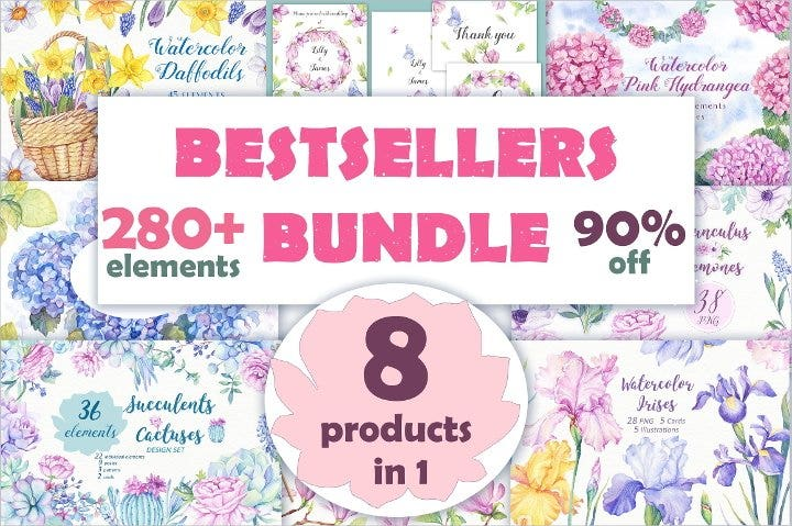 watercolor elements bundle1