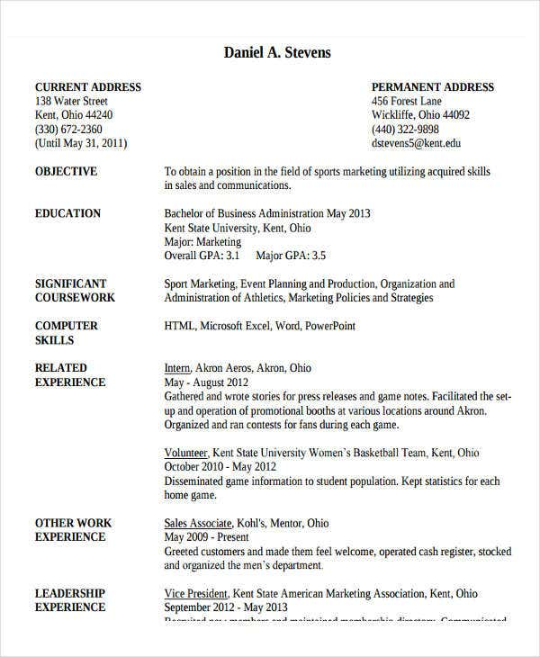 Perfect Business Administration Resume Example Throughout Business Administration Resume