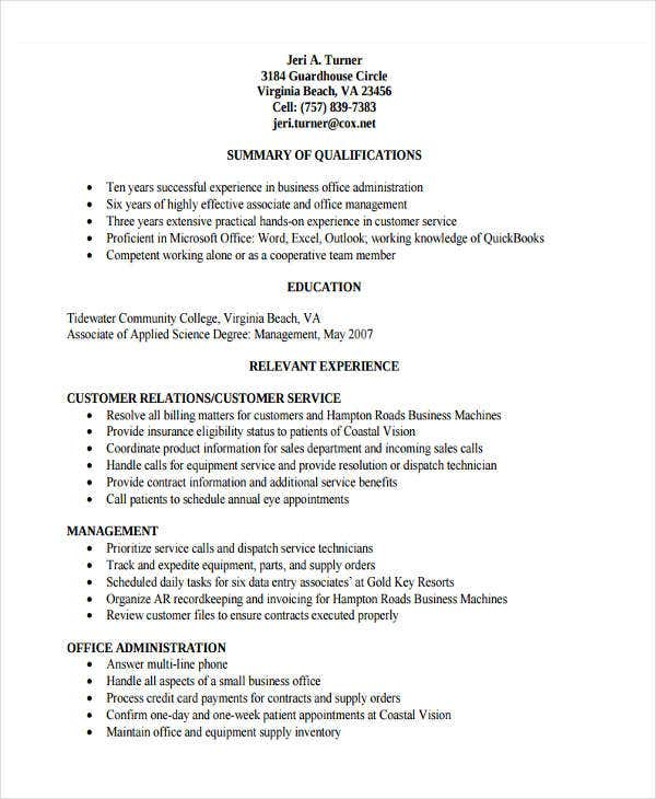 20  basic administration resume templates