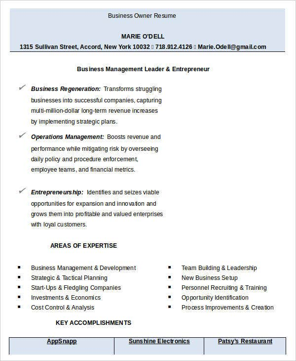 resume templates for business owners 28 images resume