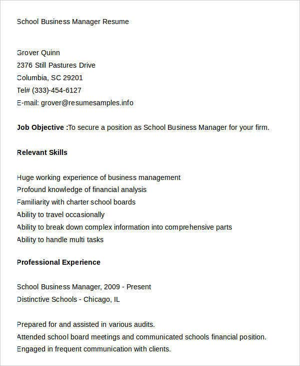 School Business Manager Resume Example