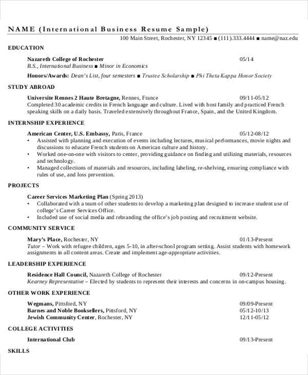 international business resume sample1