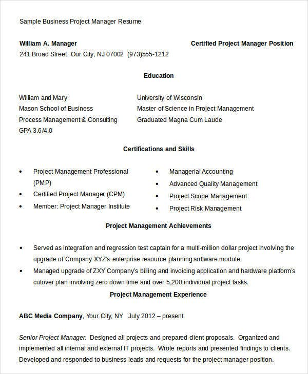 Business Project Manager Resume