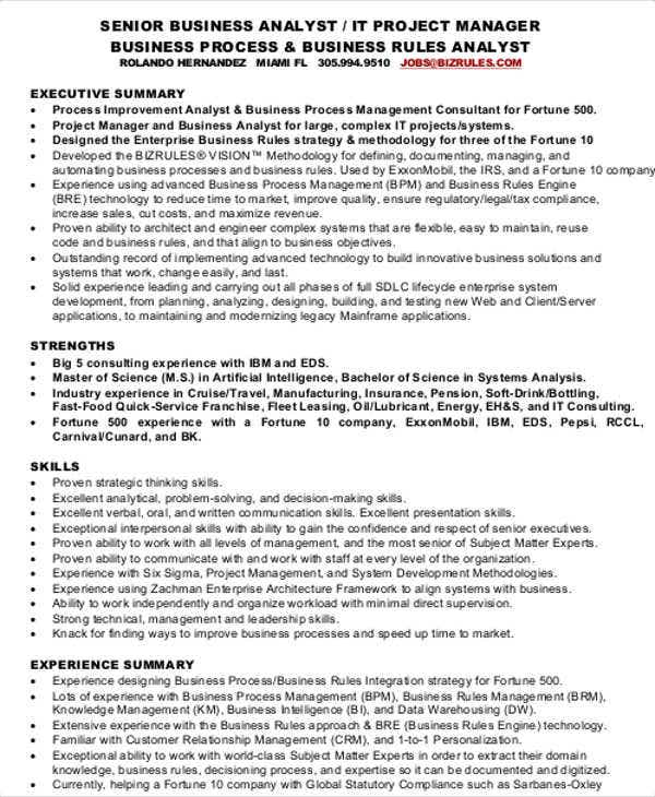 senior business analyst resume12