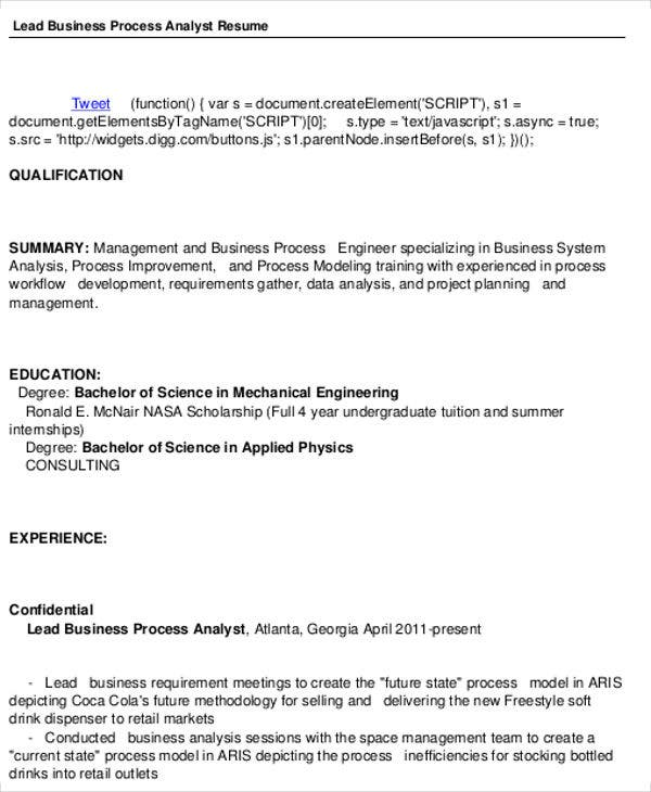 business process analyst resume