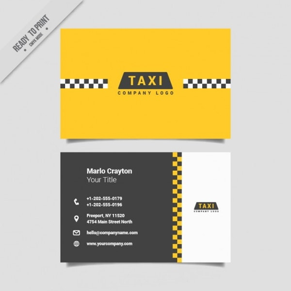 minimalistic taxi business card