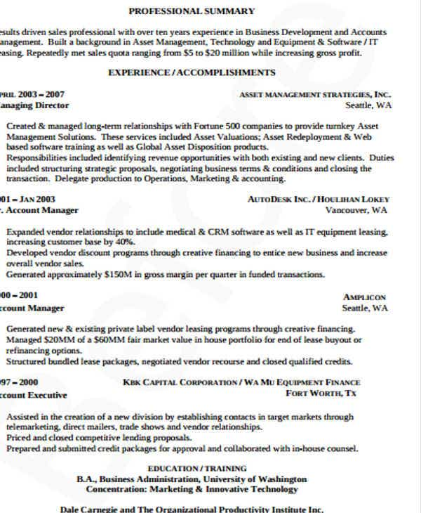 it business development manager resume