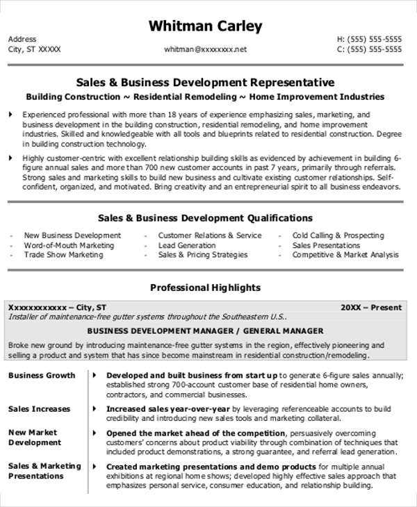 business owner resume format