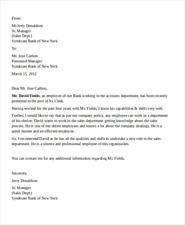 employee bank reference letter
