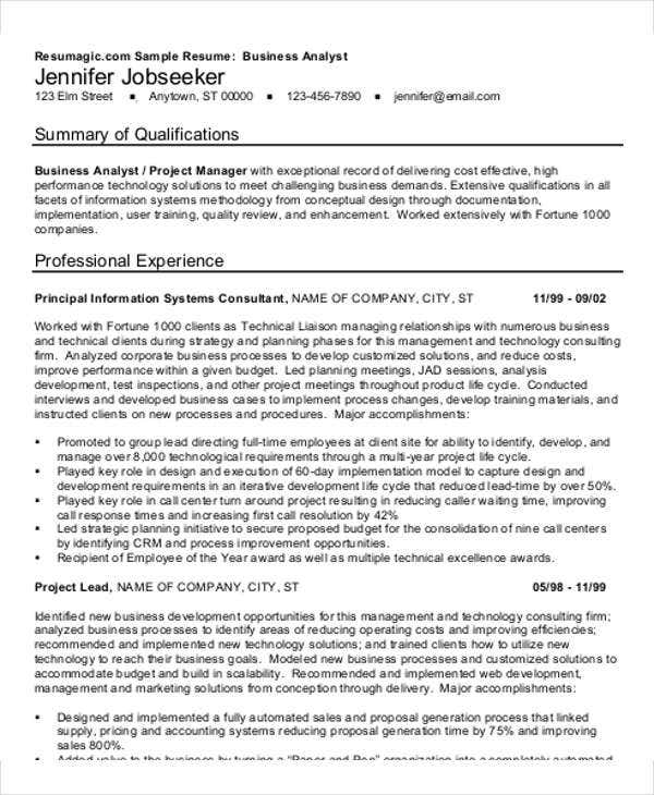 business analyst manager resume2