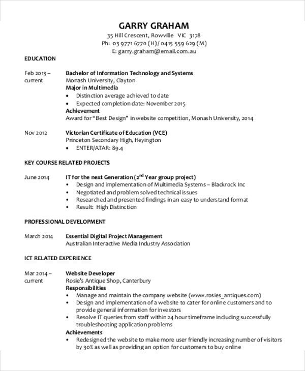 business graduate student resume