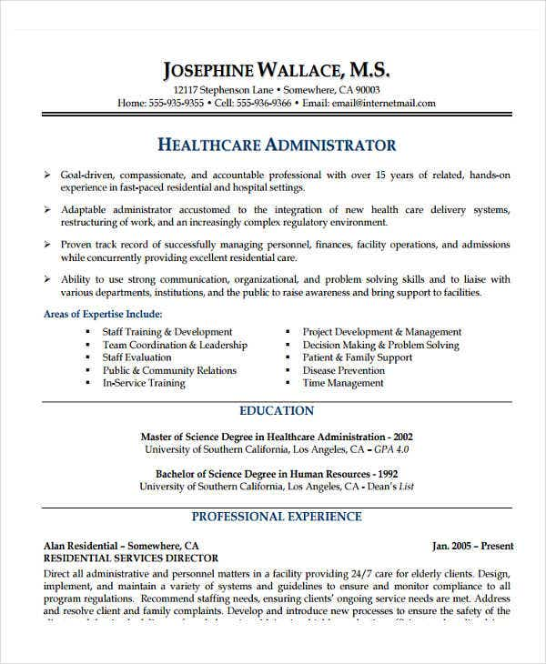 Healthcare Administrator  Healthcare Management Resume