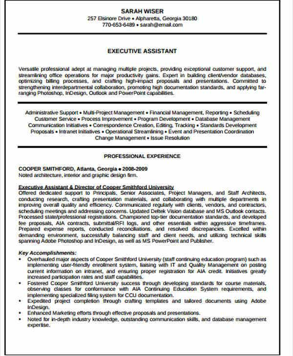 it executive assistant resume