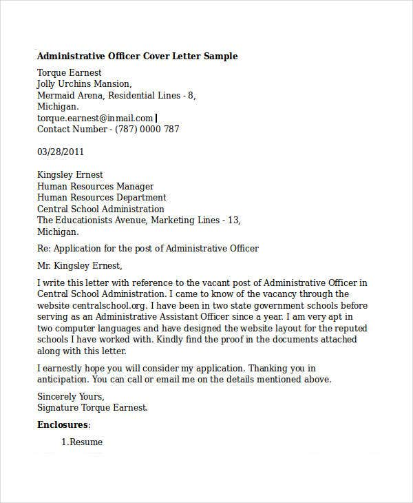 administrative officer resumes