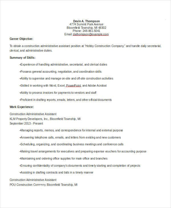 construction administrative resume example