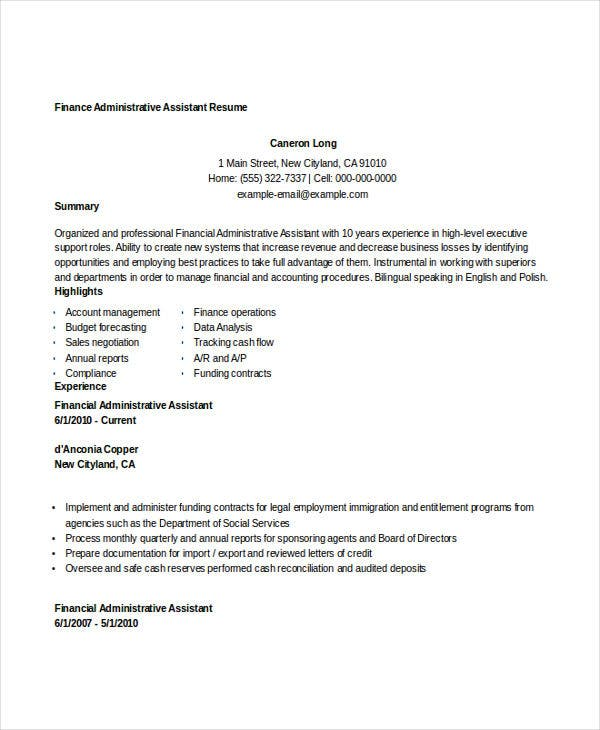 basic finance resume