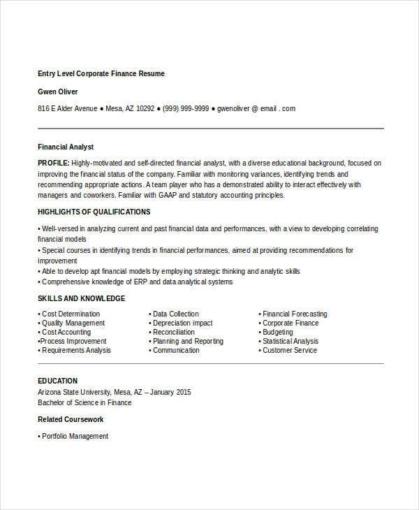 28 finance resume templates pdf doc free premium templates entry level corporate finance resume1 altavistaventures Gallery
