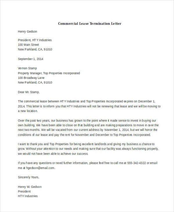 sample commercial lease termination letters
