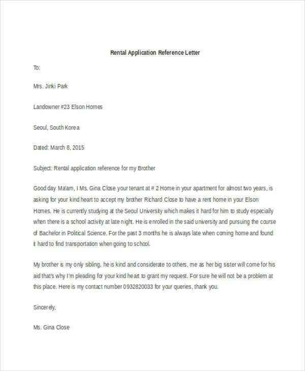 rental application reference letter