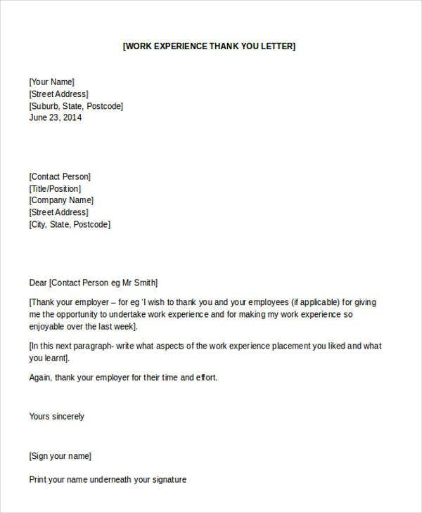 work experience thank you letter to employer1