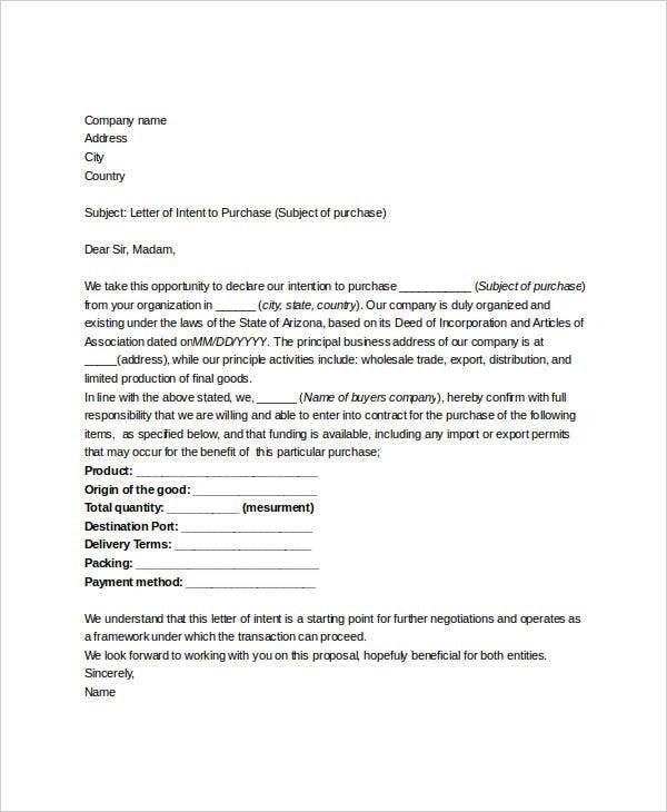 Formal Letter Of Intent Format