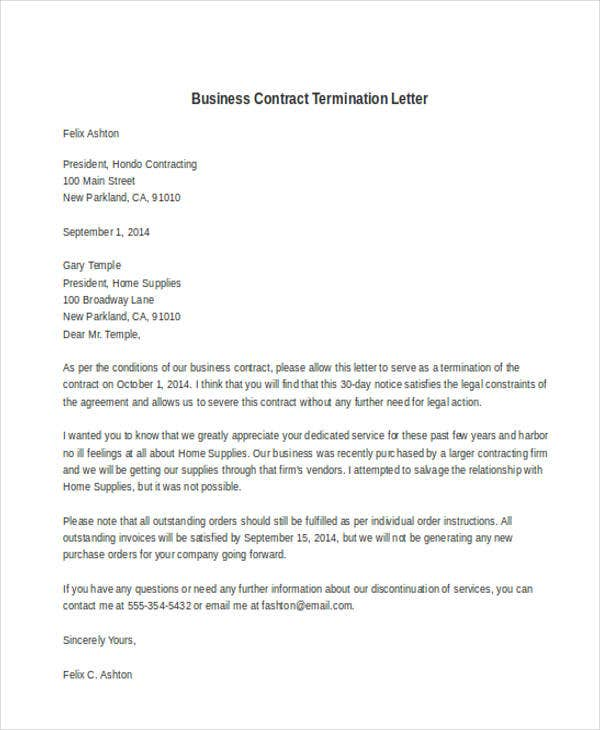 business contract termination letter example